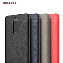 Pretty Girl's Happy Life For Nokia 5 Case Soft Leather TPU Cover For Nokia 5 Litchi Pattern Simple Style Capa Fundas Coque(China)