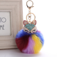 Fluffy Colorful Fox Keychain Pompom Car Keychain Fox Fur Keychain Ball Crystal Rhinestone Fur Key Chain Cool gifts Key Women