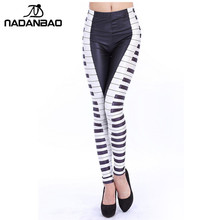 NADANBAO New Fashion Piano Rushed Key Printed Leggins Women Leggings High Waist Elastic Legins Women Pant