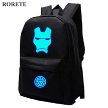 RORETE Emitting backpack Luminous Printing backpack students travel bag schoolbag Glow Children bags Batman Superman backpack