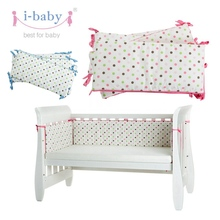 i-baby Newborn Baby Infant Crib Bumper Set Polka Dot Cotton Printed Cot Bumpers in Crib Protector Pink & Blue for girl boy(China)