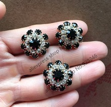 10pcs/lot 22mm black crystal rhinestone button gold decorative coat flower button fashion garment clothing bags shoes accessory