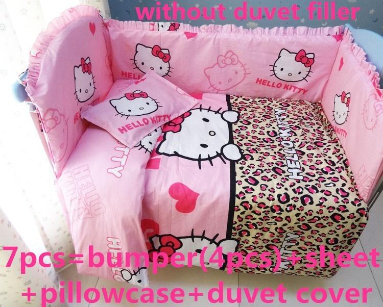 Promotion! 6/7PCS Hello Kitty  Baby bedding sets bumper,100% cotton cartoon crib baby bumper,,120*60/120*70cm<br><br>Aliexpress