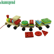 HOT Wooden Toys Children Wooden Stacking Train Wooden Blocks Baby Early Learning Toy Levert Dropship Aug 29