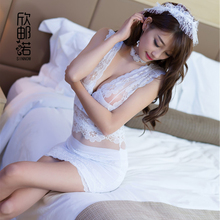 Women Porn Lace Bridal Lingerie Transparent Sexy Sleepwear White Wedding Lingerie Sexy Cosplay Bridal Uniform Mini tight dress(China)