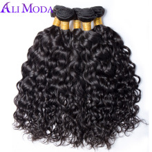 ALI MODA Hair 1 bundle Brazilian Water Wave human Hair bundles 100g hair extensions Natural color 1b Non remy hair weave bundles