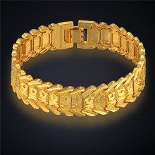 Mens Bracelets 2017 Gold Color 16MM Chunky Chain Bracelets Bangles Stamp Vintage Jewelry Gift, New Link Chain Pulseras(China)
