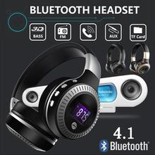Cordless Headphone LED Display Wireless Bluetooth 4.1 Earphone Headset with FM TF Card Port Super Bass Head Phones High Quality