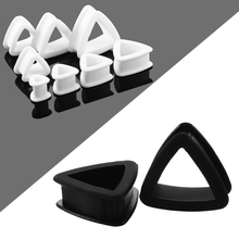 2PCS Silicone Ear Plugs Soft Triangle Thin Silicone Flexible Plug Tunnels Hollow Ear stretchers Expander Earrings Body Jewelry