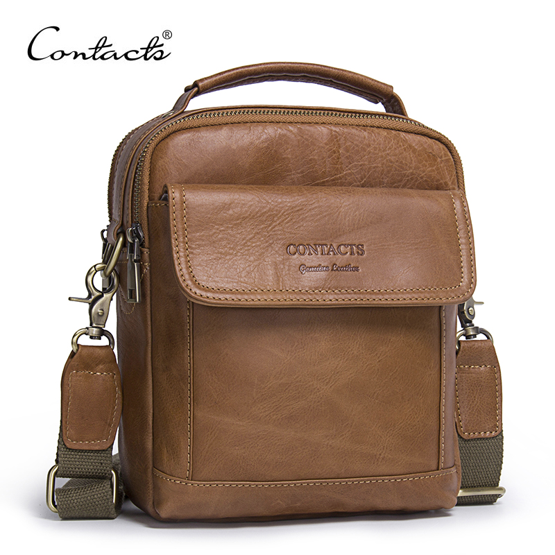 CONTACTS Genuine Leather Shoulder Bags Fashion Men Messenger Bag Small ipad Male Tote Vintage New Crossbody Bags Mens Handbags<br>