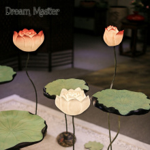 Creative new Chinese classical lotus lamp room teahouse bedroom corridor Chinese wind leaf vertical desk lamp free shipping