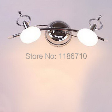 Bathroom Wall Lamp 2 Light Stainless Steel White Chrome modern wall light contains LED bulbs Free shipping<br><br>Aliexpress