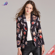 2017 New Autumn Runway Designer Outerwear Coat High quality Women's Fashion Love patten Printed Small Suit Coat Free DHL UPS(China)