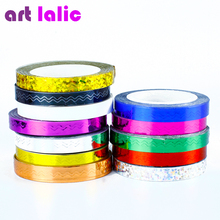 2PCS/Set Rolls Stripping Tape Waves Line Strips Decor Decals Wraps Tools Gold Silver Nail Art Sticker Roll Beauty NA945