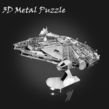 DIY 3D Metal Puzzle Model Toys Star Wa Stainless Steel Millennium Falcon For Children Educational r2 d2 Toy Adults Luxury Gifts