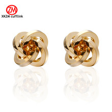 XKZM Jewelry gold knot Modeling Cufflinks for Mens High Quality Brand Enamel Animal Cufflink mosaic Crystal 2017 Newest