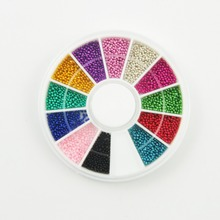 12 Colors Rhinestones For Nail Strass Nails 3D Nail Art Micro Ball Nail Art Decorations steering-wheel 3D Caviar Beads Studs