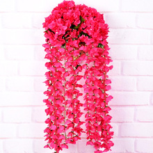 High quanlity Plants Wisteria Hang Silk Flower Artificial Vine Party Flower home office hotel Wedding Decor(China)
