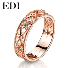 EDI Genuine Real 18k Rose Gold Bands Natural Diamond 0.02cttw Round Cut Wedding Rings For Women Flower Design Fine Jewelry Gifts(China)
