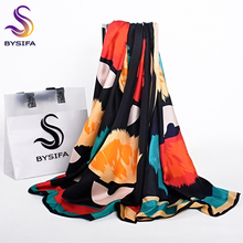 [BYSIFA] Black Red Silk Scarf Ladies Fashion Accessories Fine Rolling Edge Women Large Size Twill Square Scarves Wraps Schals