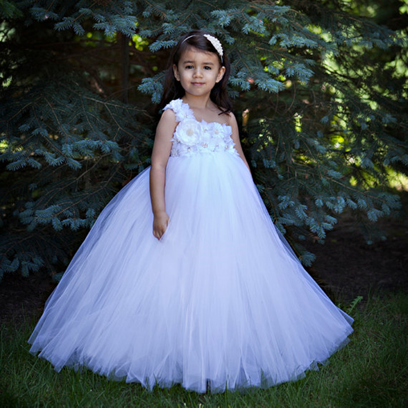 White Flower Girl Dress For Weddings Party Wear Diamond Flowers Straps Tulle Tutu Dresses Kids Baptism Special Occasion Dress <br>