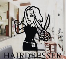 Hair salon Store window sticker hair dresser shop sign sticker advertising poster wall sticker store sticker
