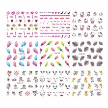 YZWLE 1 Sheet Optional Feather Cartoon Designs Beauty Multi Pattern Art Nail Sticker Water Transfer Decal