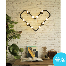 LOFT industrial water bedroom clothing store coffee bar creative lamp wall lamp of love The light source set produced 72(China)