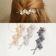 New Flower Rhinestone Women Hair Accessories Plum Floral Hair Clip Girls Hair Pins Sweet Wedding Headwear Silver Gold Barrette(China)
