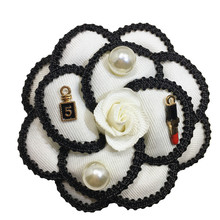 B1 Camellia White Black Flowers Pearl Bouquets Corsage Luxury Brand Designer Jewelry 2017 Brooch Pins Broach For Women Lapel(China)