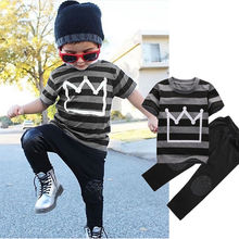 Children Suit Boys Tracksuit Summer 2016 Cotton Sport Clothes Pant Set Fashion Kids Outfit Brand Streetwear Casual Child Garment(China)