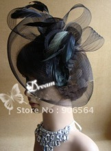 Elegant  bridal veil net and feather fascinator hats fascinator base with crinoline headwear cocktail hats race hair accessoires