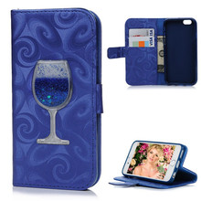 3D Wine Cup Liquid Quicksand Leather Case For iPhone 5 5s SE 6 6S Plus Luxury Glitter Flip Wallet Cover Card Slots Cases   B630