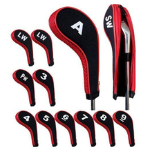 High Quality 12Pcs Rubber Neoprene Golf Head Cover Golf Club Iron Putter with Zipper Long Neck Protect Set Number Printed(China)
