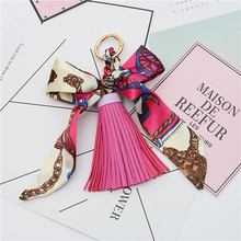 Fashion Accessories Scarves Key holder Bowknot Exquisite Decoration PU Leather Tassels Keychains Women Bag Charm Pendant EH-810(China)