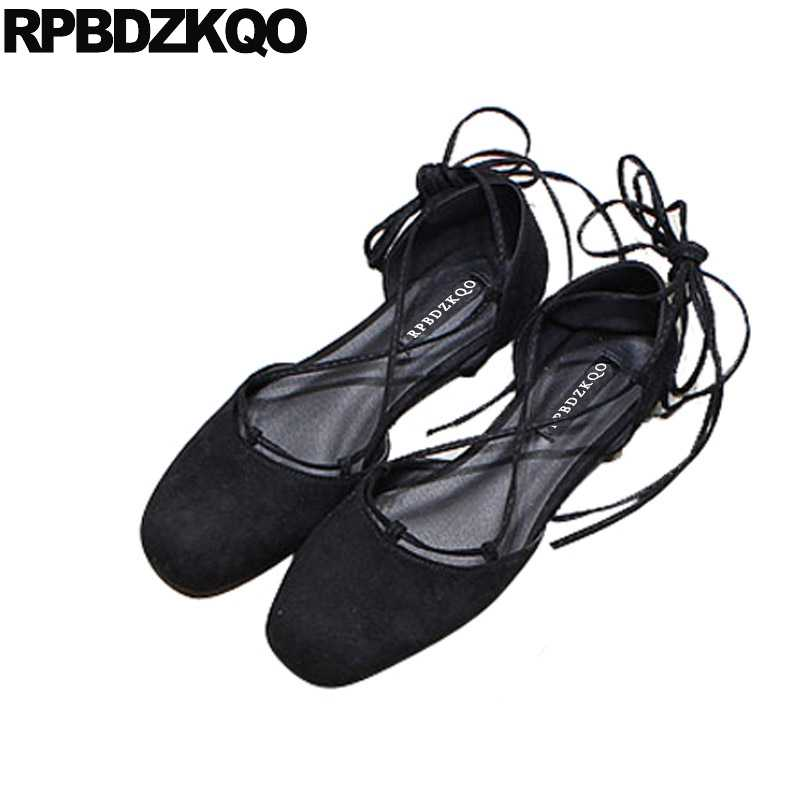 Black Yellow Square Toe Ballerina Shoe Mori Girl Designer Soft Ballet Flats  Women Suede Lace Up 36d6b7d6d0d3