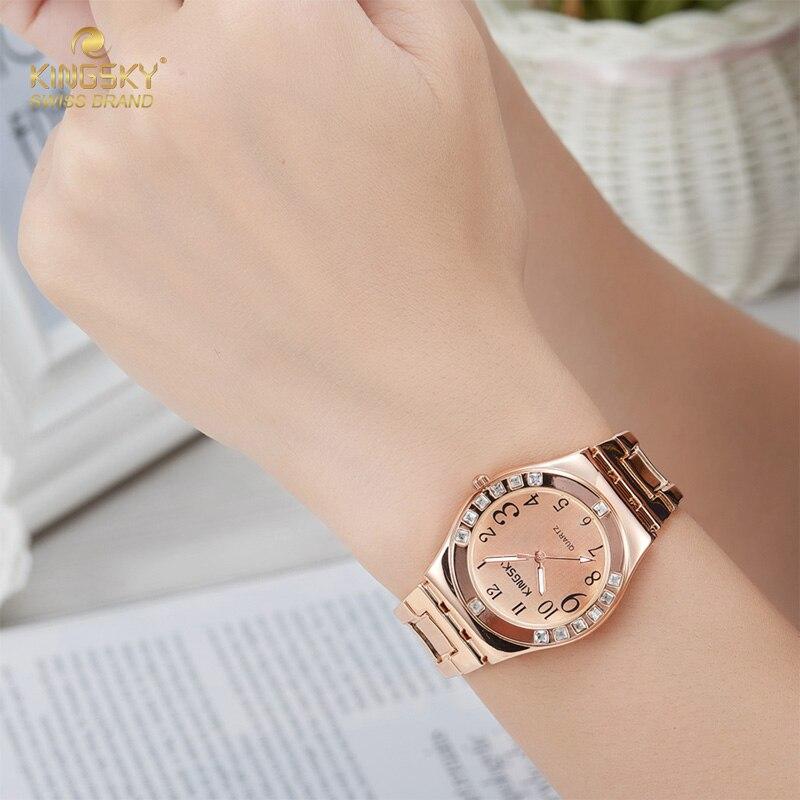 KINGSKY Ladies Quartz Watches Women Fashion Casual Business Wrist Watch Luxury Brand Gold Bracelet Dress Watch Relogio Feminino<br><br>Aliexpress