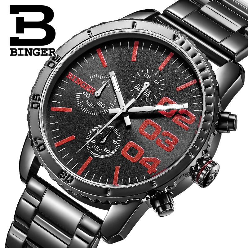 Switzerland BINGER mens watch luxury brand Quartz waterproof Chronograph Stop Watch leather strap Wristwatches B9007-3<br>