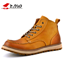 Z.Suo 16011 Autumn Winter Genuine Leather Men's Work Boots Fashion Vintage The Best Quality Cow Leather Handmade Men Ankle Boots