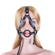 Buy Bdsm fetish head bondage harness open mouth gag ring top leather restraints belt slave sex toys adults erotic games