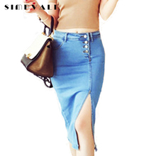 2017 New Women Denim Skirts Women's Spring Long Fashion Side Split Jeans Skirt Feminino Pencil Skirts