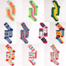 Foot 22-27cm Crew Socks Watermelon Noodle Stars Racket Table Ball Bat Cloud Spray Astronaut Hot Dog Corn Fun Happy Funny Cotton(China)