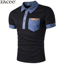 ZACOO Summer Men's Polo shirts Pocket Leather Jeans Splicing Lapel Short Sleeve Men Polo Shirt Short Sleeves Collar Cotton(China)