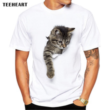 TEEHEART 3D Cute Cat T-shirts Women Summer Tops Tees Print Animal T shirt Men o-neck short sleeve  Fashion Tshirts  Plus Size