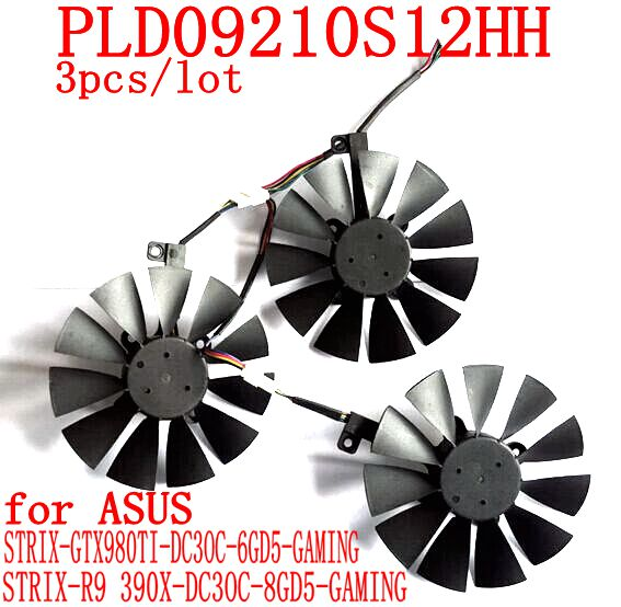 New 3pcs/lot PLD09210S12HH 6pin  for ASUS STRIX-GTX980TI-DC3OC-6GD5 STRIX-R9 390/390x-DC3OC-8GD5-GAMING graphics card fan<br>