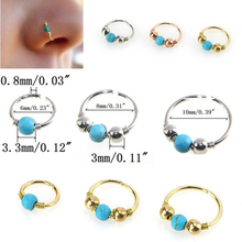 AOMU 3pcs 16G Stainless Steel Nosering Nostril Hoop Clip On Nose Stud Ear Cartilage Earrings Navel Piercing Women Body Jewelry(China)