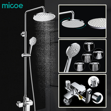 Micoe Brass Rainfall Shower Set Faucet + Tub Mixer Tap + Handheld Shower Wall Mounted Bathroom Showerhead Chrome M-A0021-1D