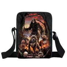 Cool Death Reaper Bulldog Mini Messenger Bag Punk Skull Women Casual Handbag Pet Children Shoulder Bags Kids Crossbody Book Bag