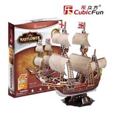 Candice guo Cubicfun 3D puzzle paper model toy assemble Ancient ship boat T4009h May flower children birthday christmas gift set