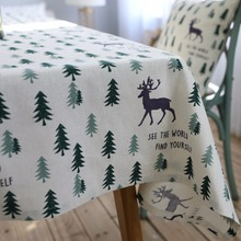 Custom to Make Elk Cotton Linen Table Cloth Fashion Table Cushion Cover Oilproof Square Round Tablecloths Home Hotel Decoration(China)